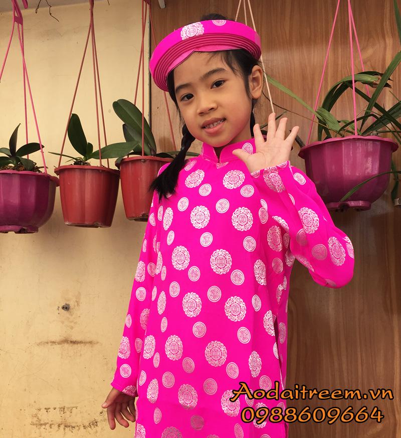 Áo dài bé gái họa tiết đồng xu màu hồng