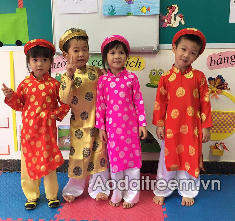 Áo dài trẻ em gấm Thái Tuấn loại 1 cực đẹp