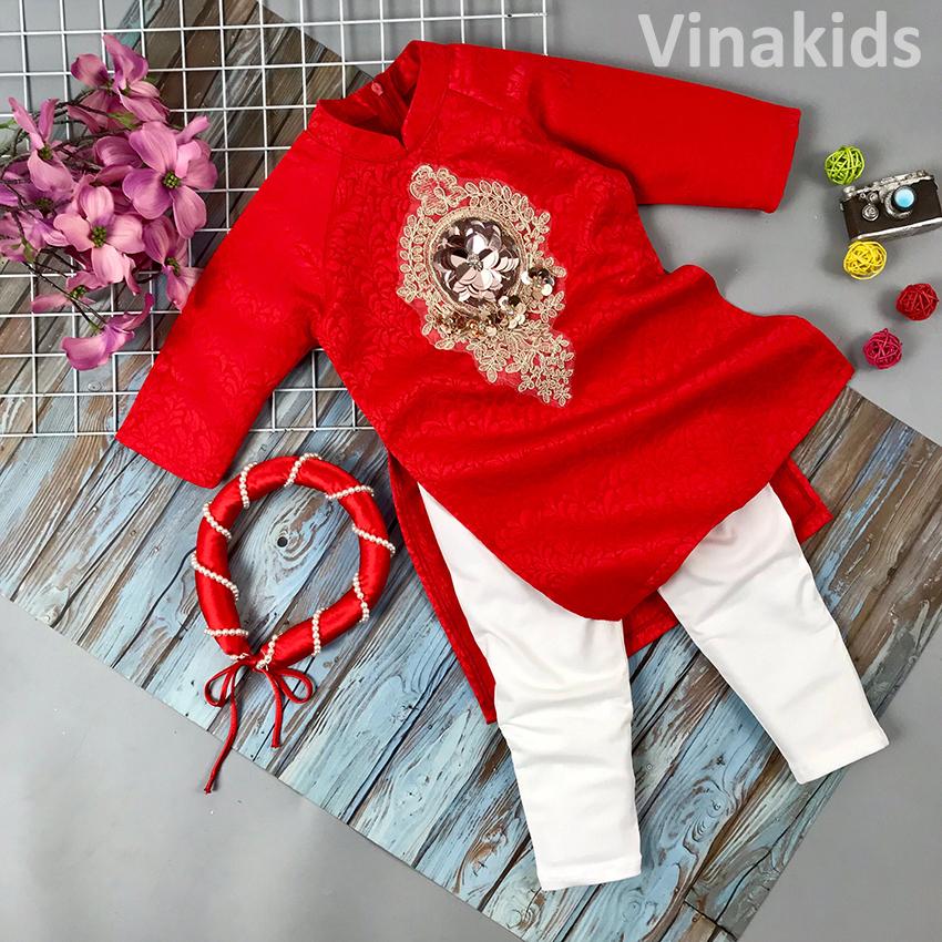 Set 3 chi tiết áo dài gấm cách tân bé gái  Vinakids hoa đính kim sa màu đỏ (2-14 tuổi)