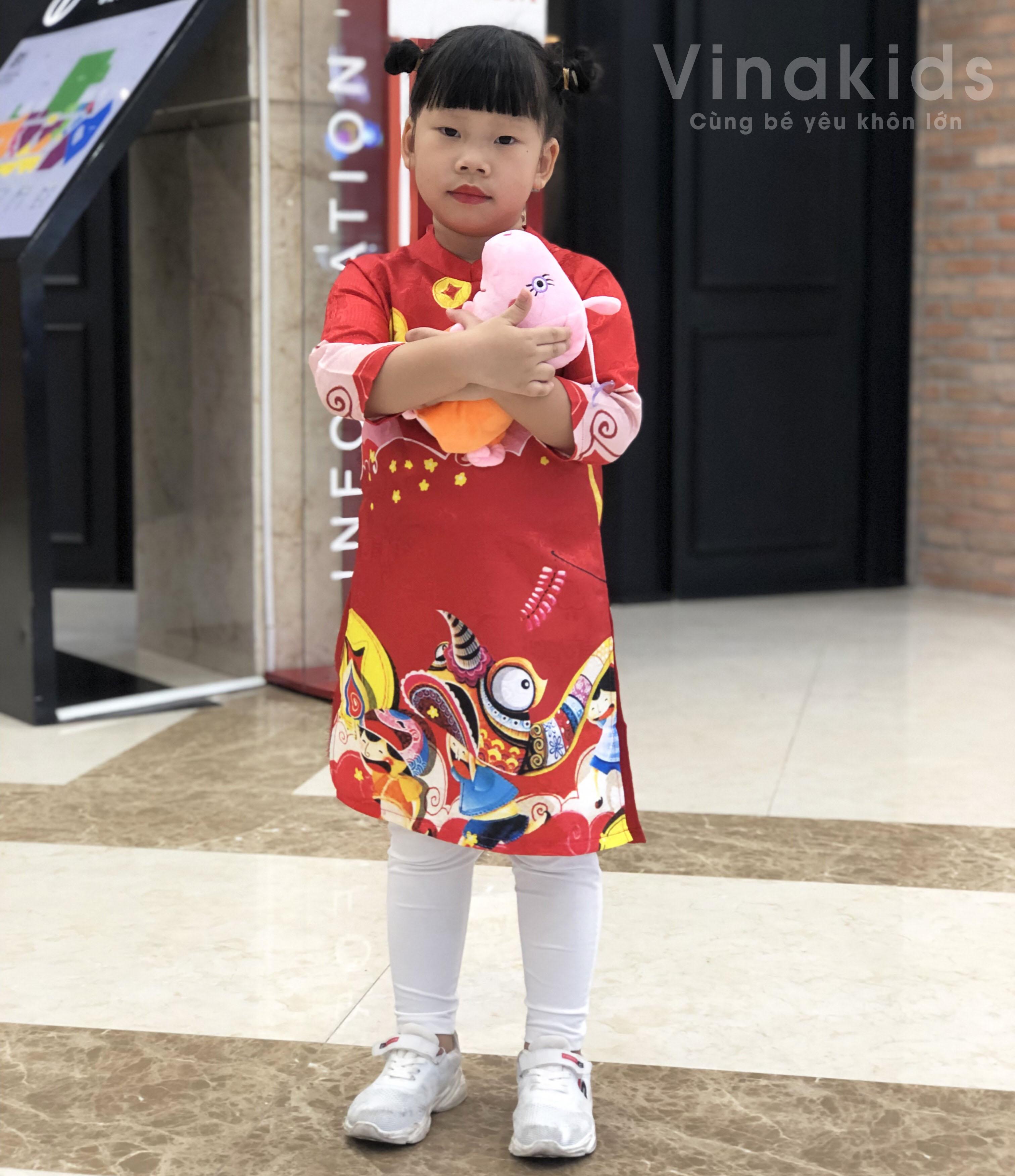 Set áo dài cách tân bé gái Vinakids họa tiết tết màu đỏ kèm quần (2-14 tuổi)