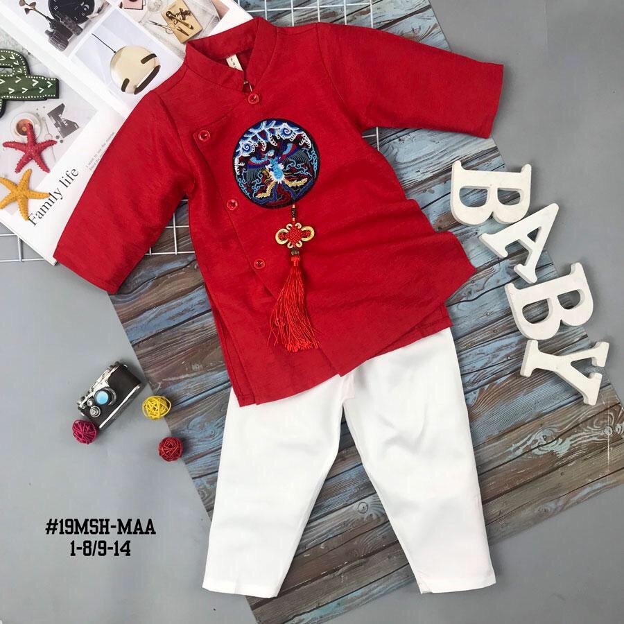 Sét áo dài Gấm bé trai họa tiết thêu đắp phối dây màu đỏ kèm quần (2-14 tuổi)