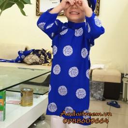 Áo dài bé trai họa tiết đồng xu màu xanh