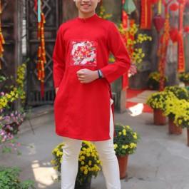 Áo dài bé trai màu đỏ từ 30kg -50kg