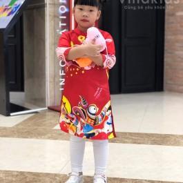 Áo dài cách tân bé gái họa tiết tết màu đỏ (Áo + quần )  (2-14 tuổi)