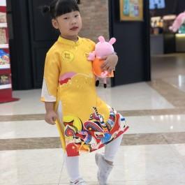 Áo dài cách tân bé gái họa tiết tết màu vàng ( Áo dài + quần)  2-14 tuổi (12-45kg)