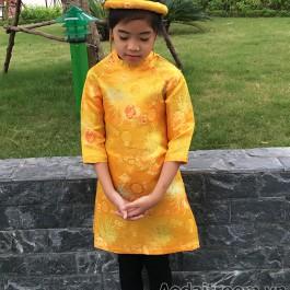 Áo dài cách tân bé gái màu vàng