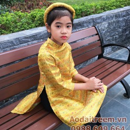 Áo dài cách tân bé gái màu vàng đồng