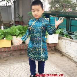 Áo dài cách tân bé trai màu xanh ngọc