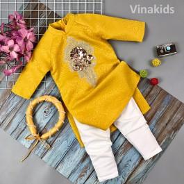 Set 3 chi tiết áo dài cách tân bé gái Vinakids đính hoa kim sa  màu vàng 2-14 tuổi (12-45kg)