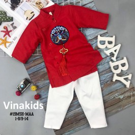 Set Áo dài cách tân bé trai Vinakids họa tiết thêu đắp phối dây màu đỏ kèm quần cho bé từ 2 - 14 tuổi