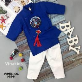 Set Áo dài cách tân bé trai Vinakids họa tiết thêu đắp phối dây màu xanh kèm quần cho bé từ 2 - 14 tuổi
