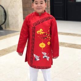 Sét áo dài Gấm bé trai họa tiết đèn lồng màu đỏ kèm quần (2-14 tuổi)