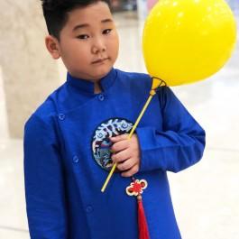 Sét áo dài Gấm bé trai họa tiết thêu đắp phối dây màu xanh kèm quần (2-14 tuổi)