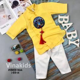 Set Áo dài cách tân bé trai Vinakids họa tiết thêu đắp phối dây màu vàng kèm quần cho bé từ 2 - 14 tuổi